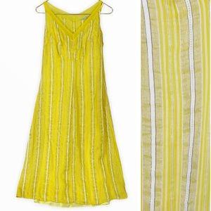 Armand Ventilo Yellow Stripe Silk Linen Sun Dress